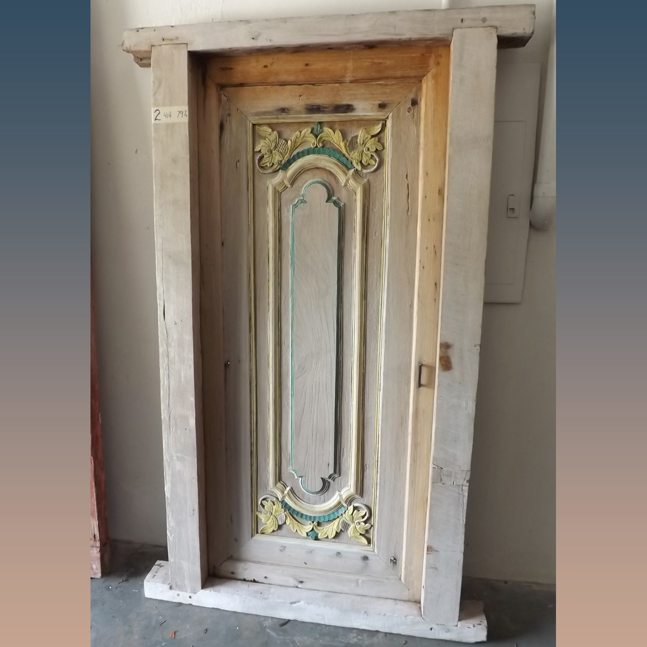 Hand Carved and Hand Painted Door with Frame – 79 x 41