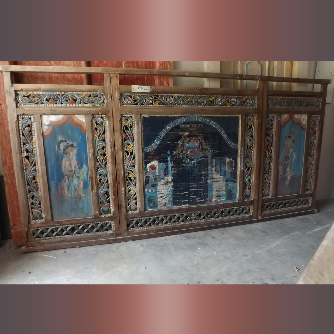 Hand Carved and Hand Painted Blue Panel 110 x 52