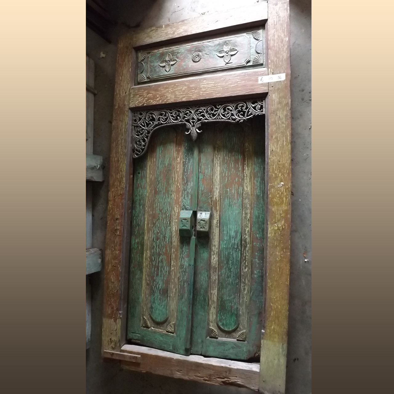 Hand Carved and Hand Painted Green and Brown Double Door with Frame 110 x 56